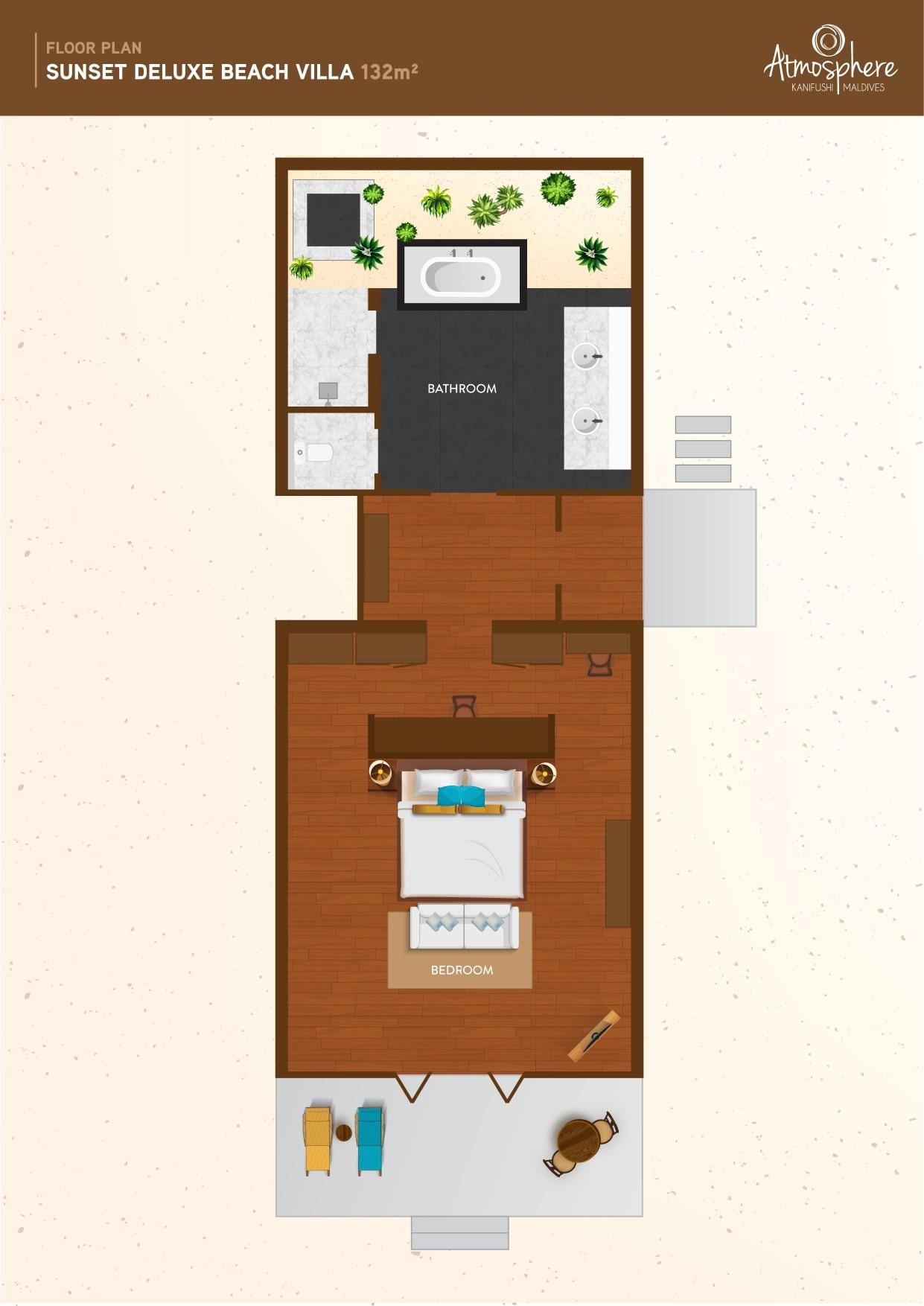 Мальдивы, отель Atmosphere Kanifushi Maldives, план-схема номера Sunset Deluxe Beach Villa