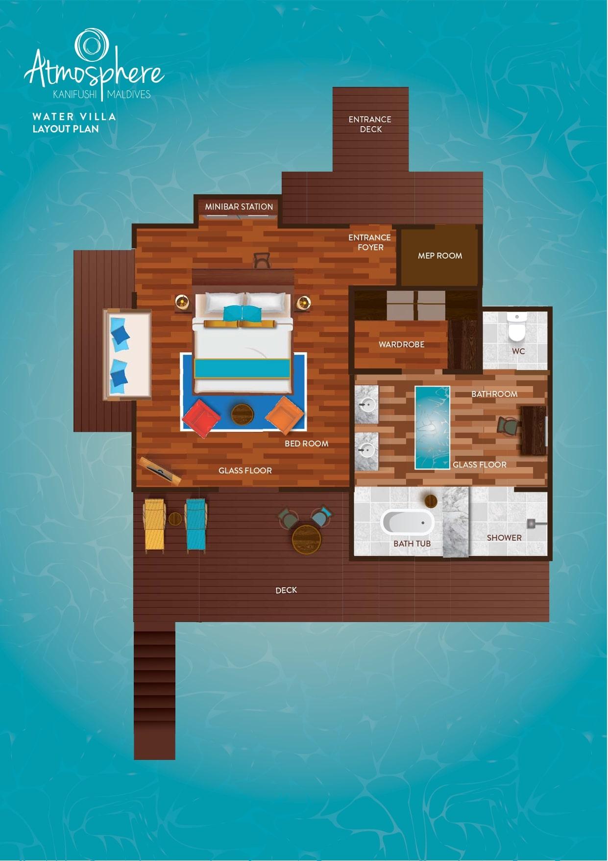 Мальдивы, отель Atmosphere Kanifushi Maldives, план-схема номера Water Villa