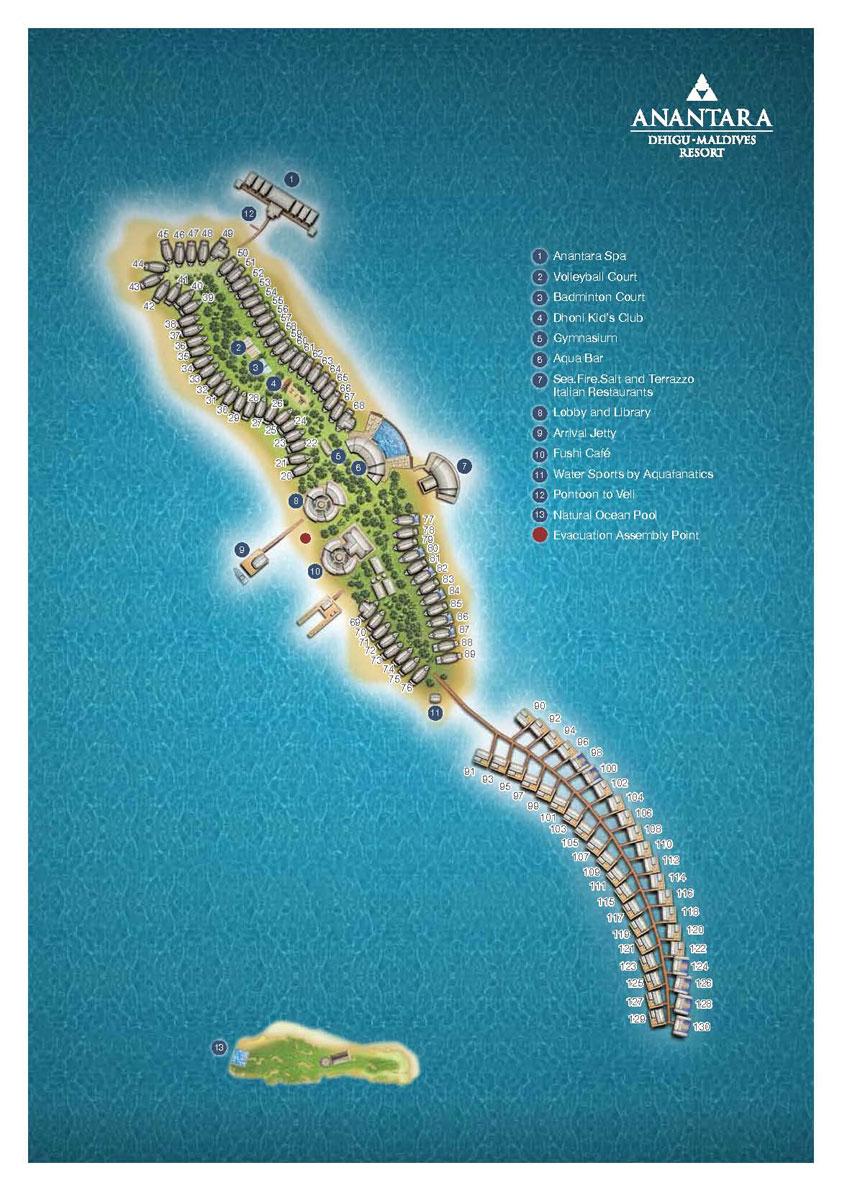 Мальдивы, Anantara Dhigu Maldives Resort, карта отеля