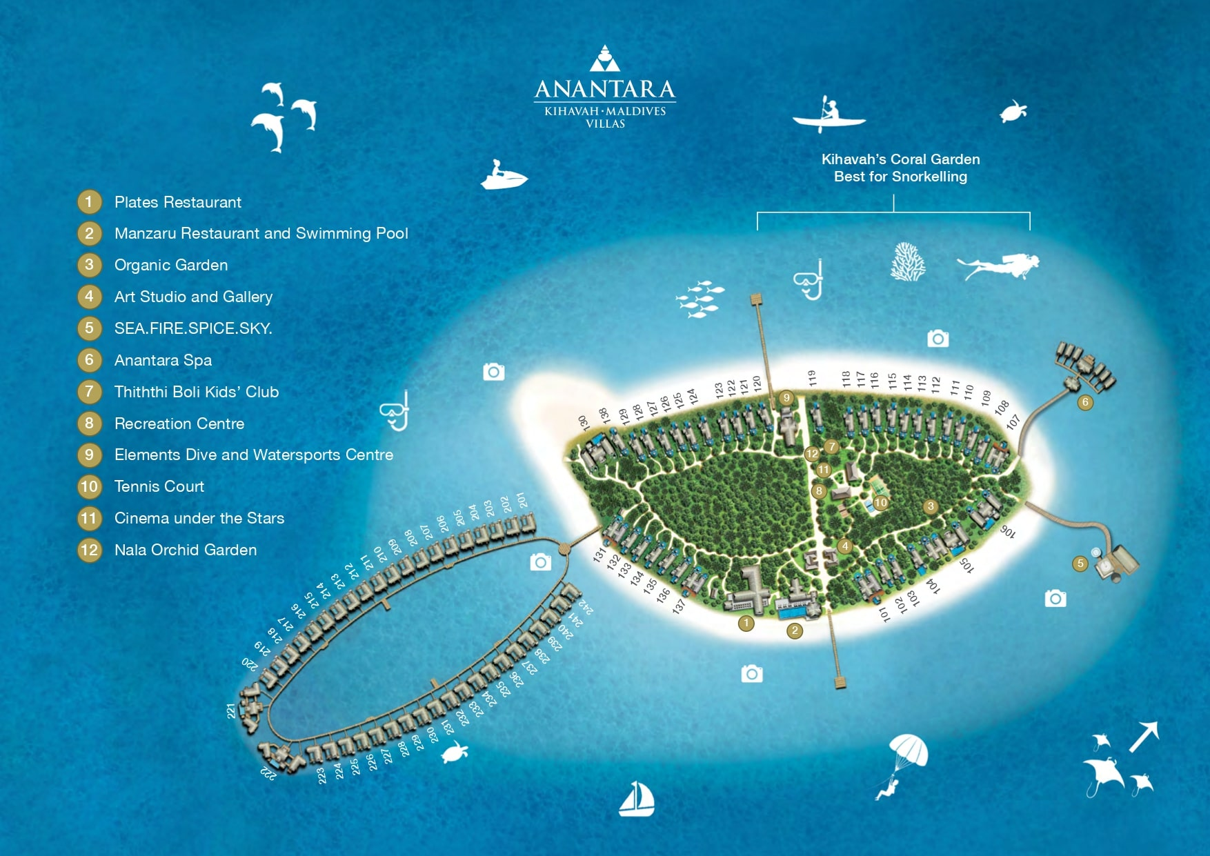 Мальдивы, Anantara Kihavah Maldives Villas, карта отеля