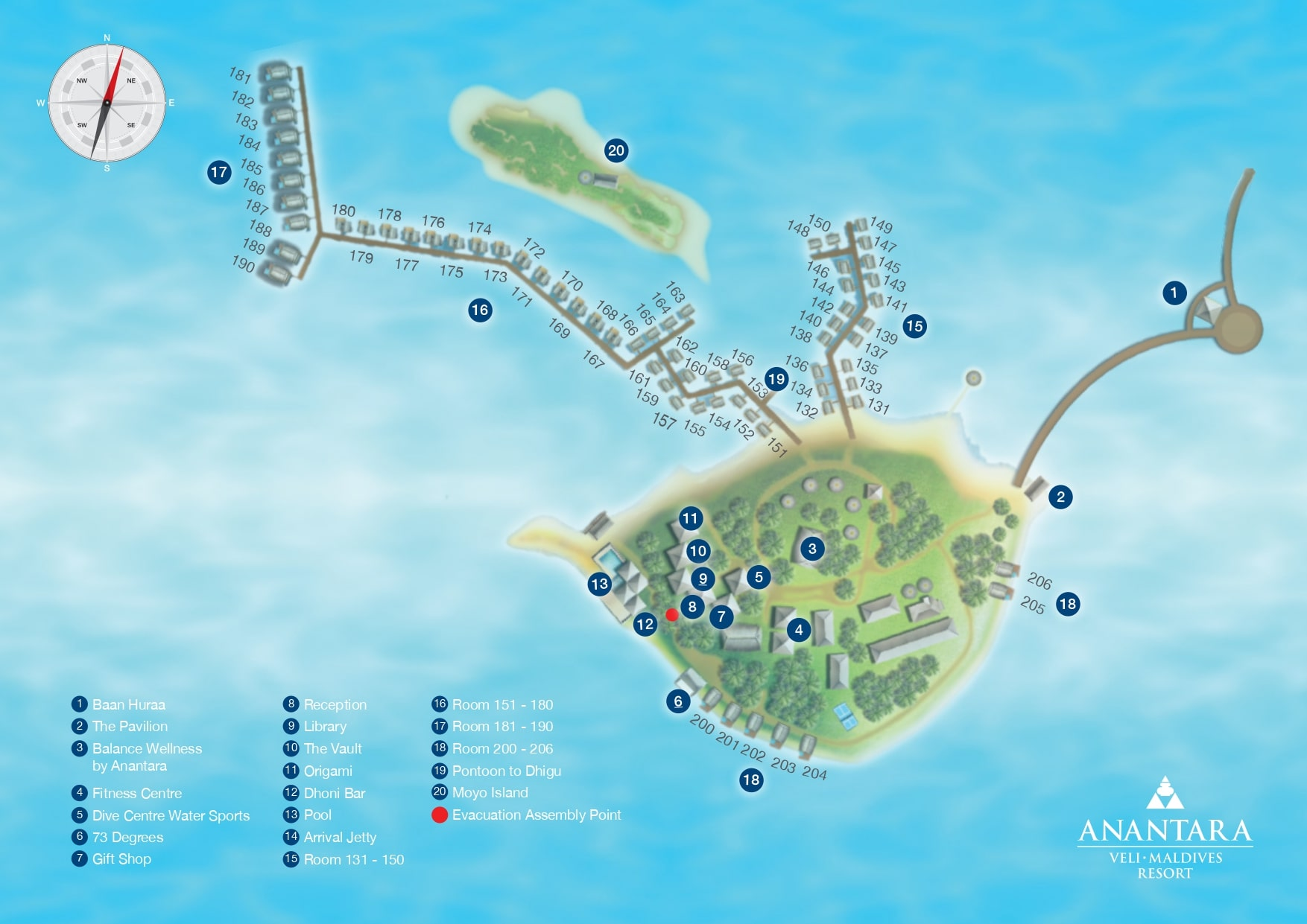 Мальдивы, Anantara Veli Resort, карта отеля
