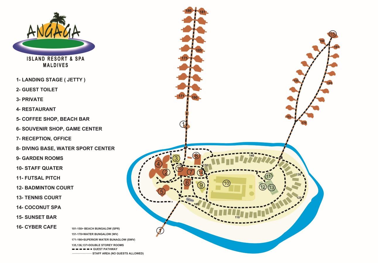 Мальдивы, Angaga Island Resort & Spa, карта отеля