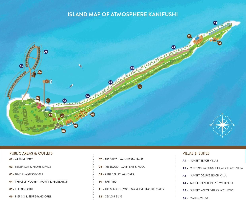 Мальдивы, Atmosphere Kanifushi Maldives, карта отеля