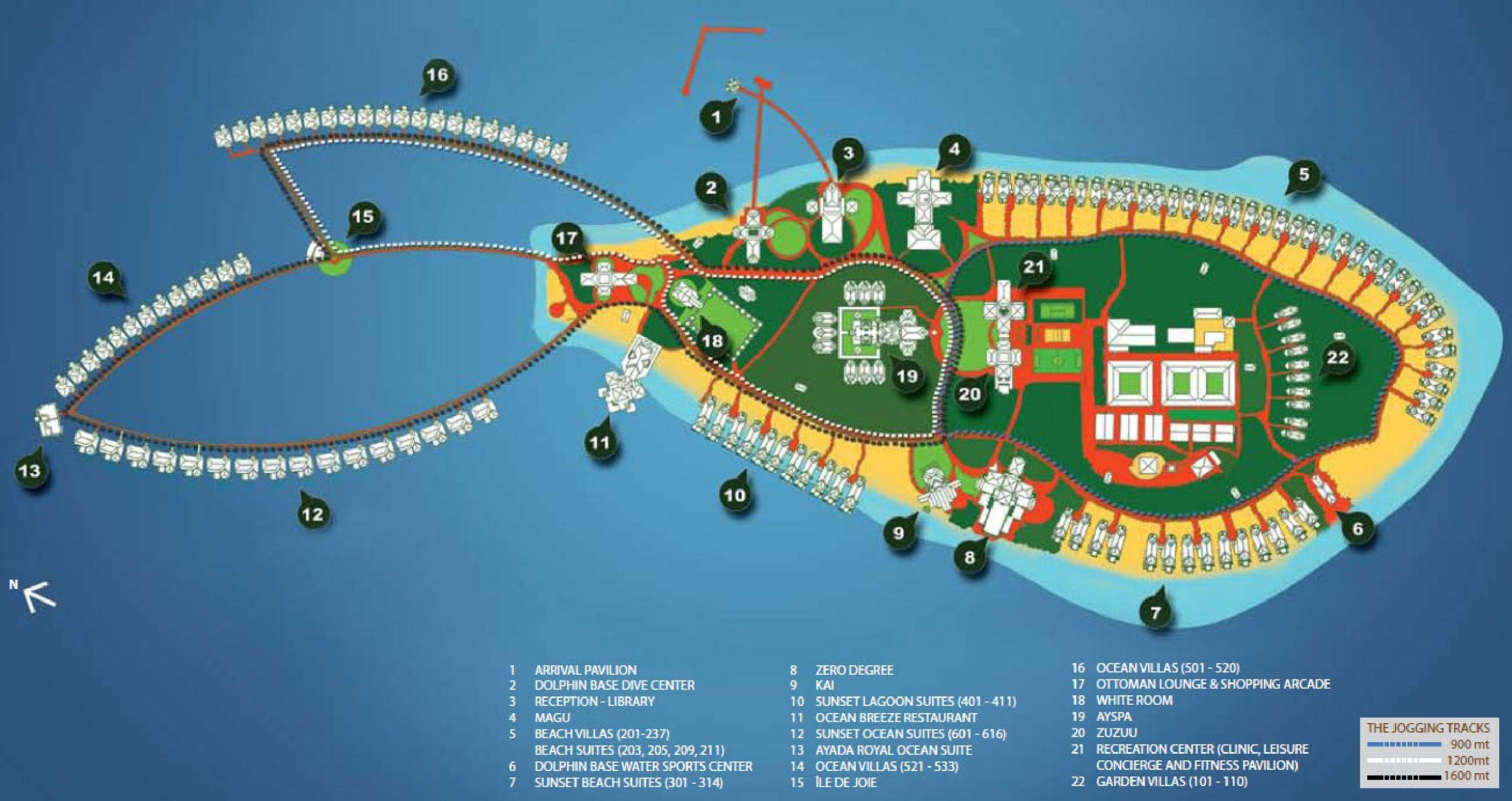 Мальдивы, Ayada Maldives, карта отеля