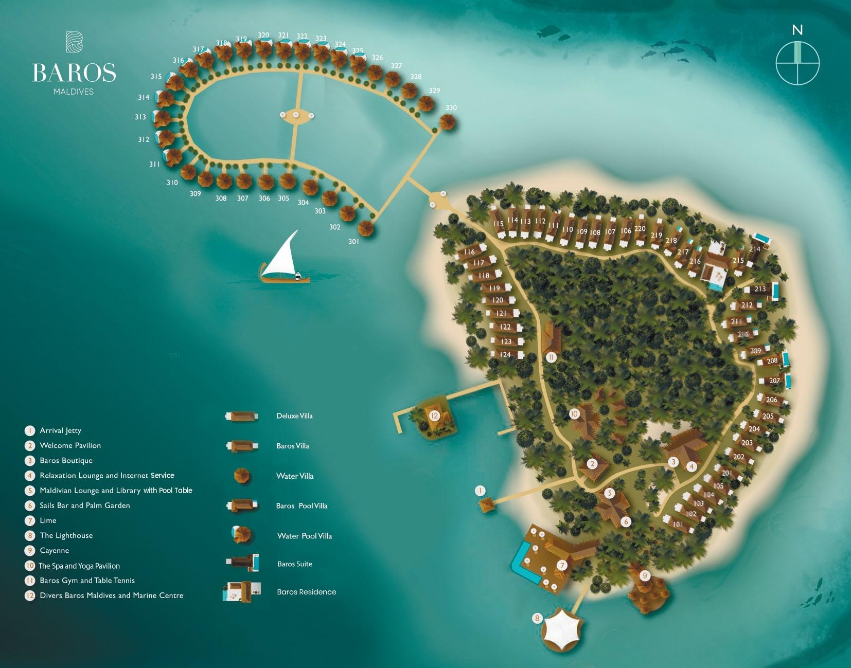 Мальдивы, Baros Maldives, карта отеля