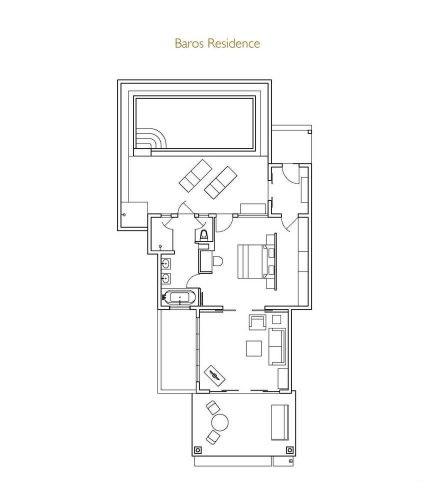 Мальдивы, отель Baros Maldives, план-схема номера Baros Residence