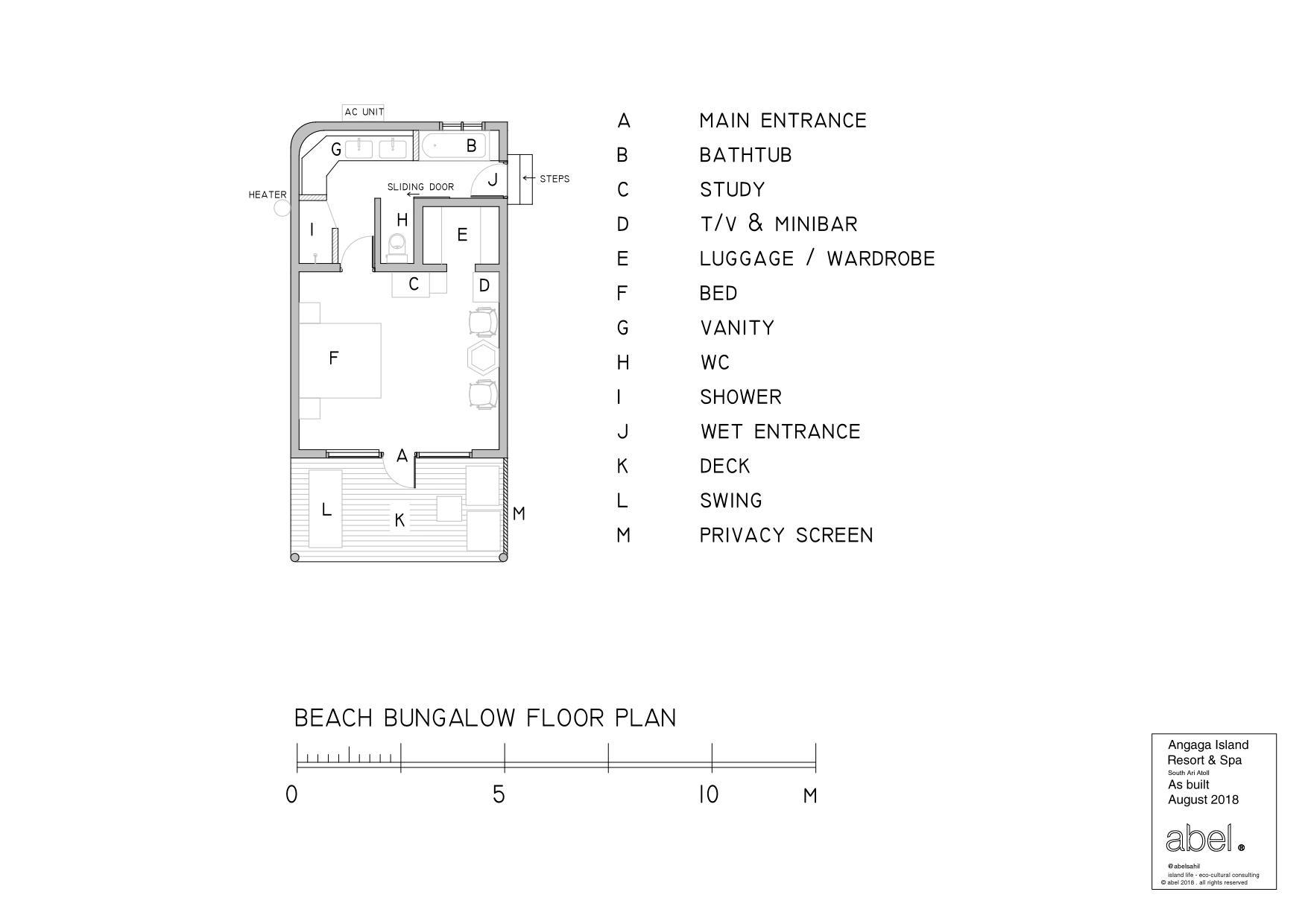 Мальдивы, отель Angaga Island Resort & Spa, план-схема номера Superior Beach Bungalow