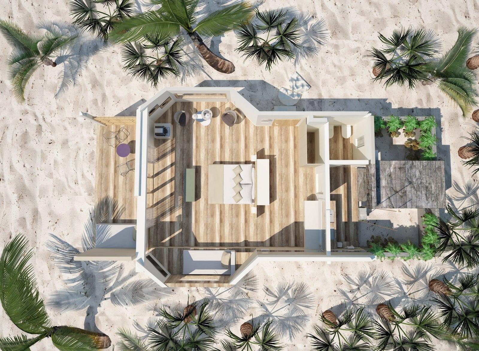 Мальдивы, отель Cocoon Maldives, план-схема номера Beach Suite
