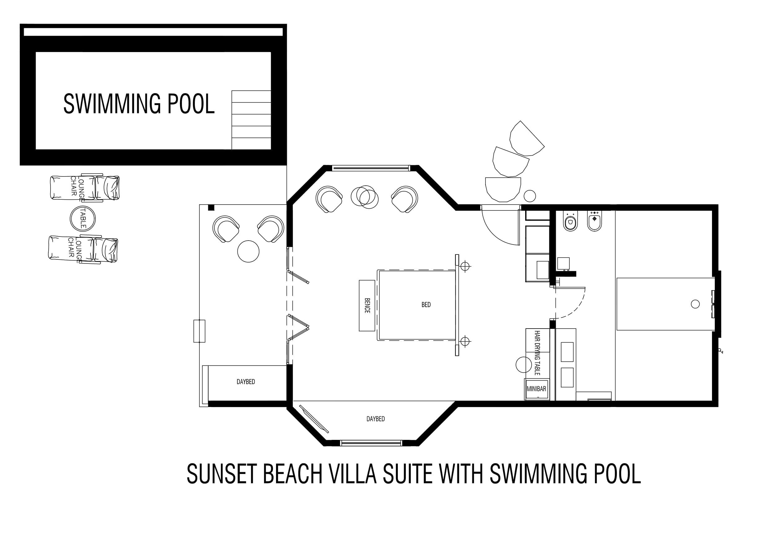 Мальдивы, отель Cocoon Maldives, план-схема номера Beach Suite Pool