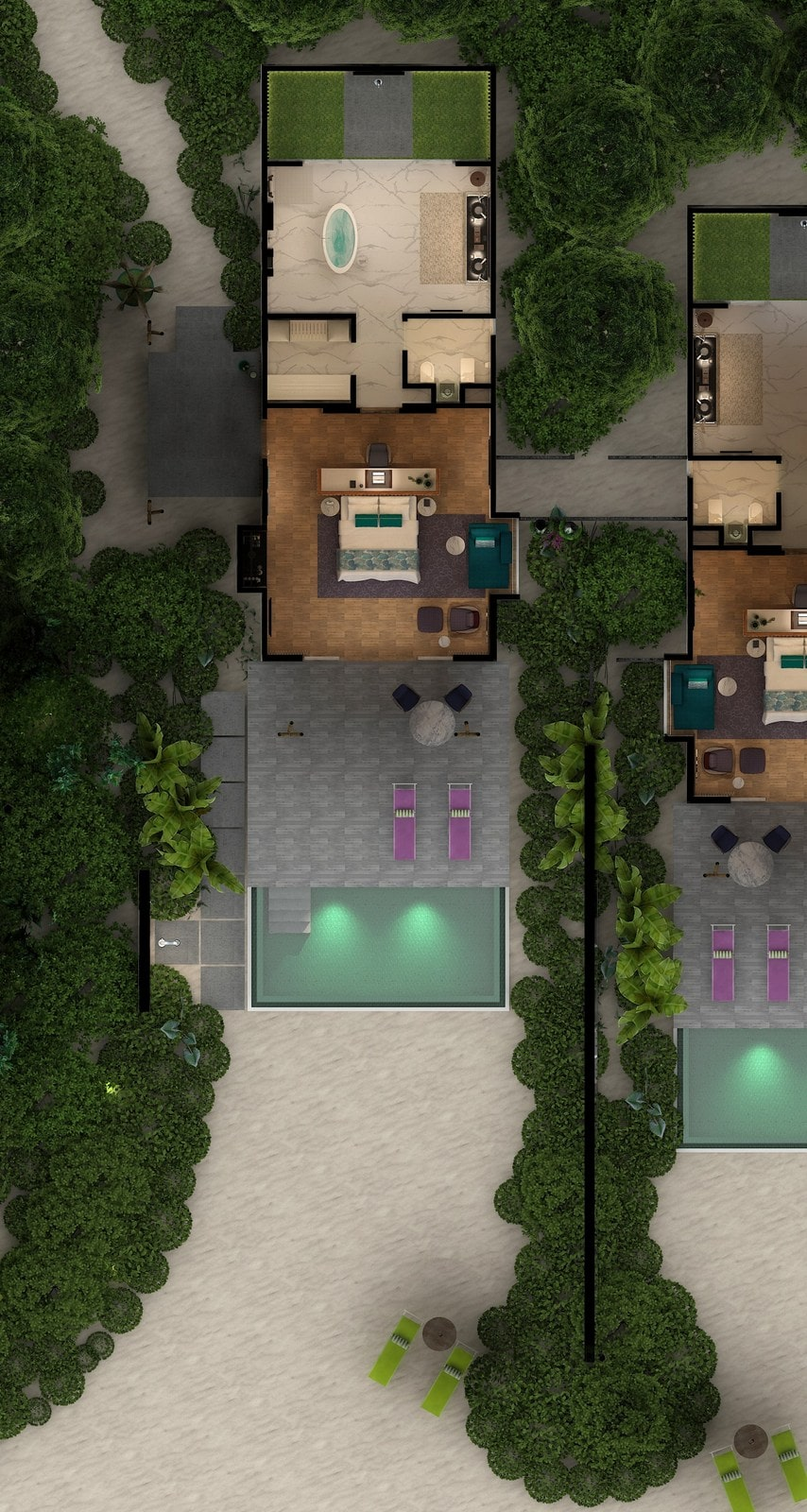 Мальдивы, отель Emerald Maldives Resort & Spa, план-схема номера Beach Villa with Pool