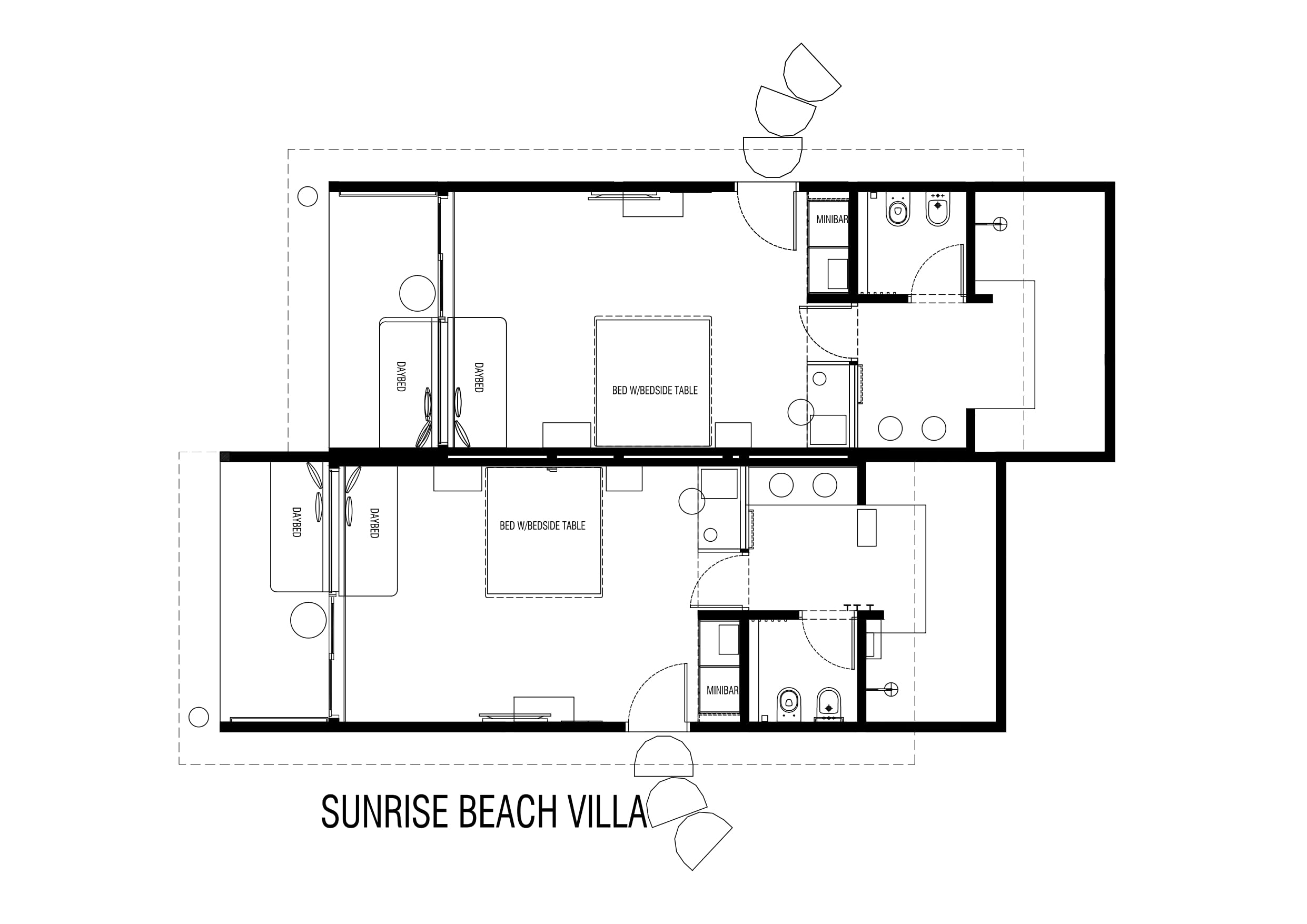 Мальдивы, отель Cocoon Maldives, план-схема номера Beach Villa