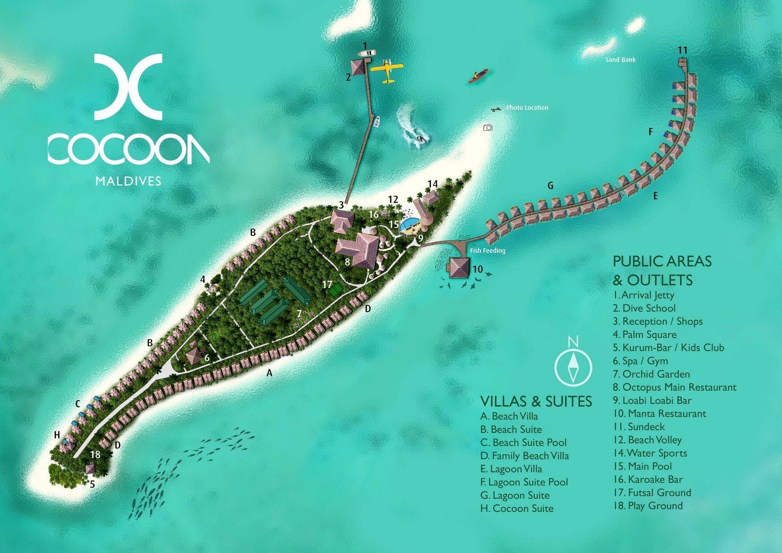 Мальдивы, Cocoon Maldives, карта отеля