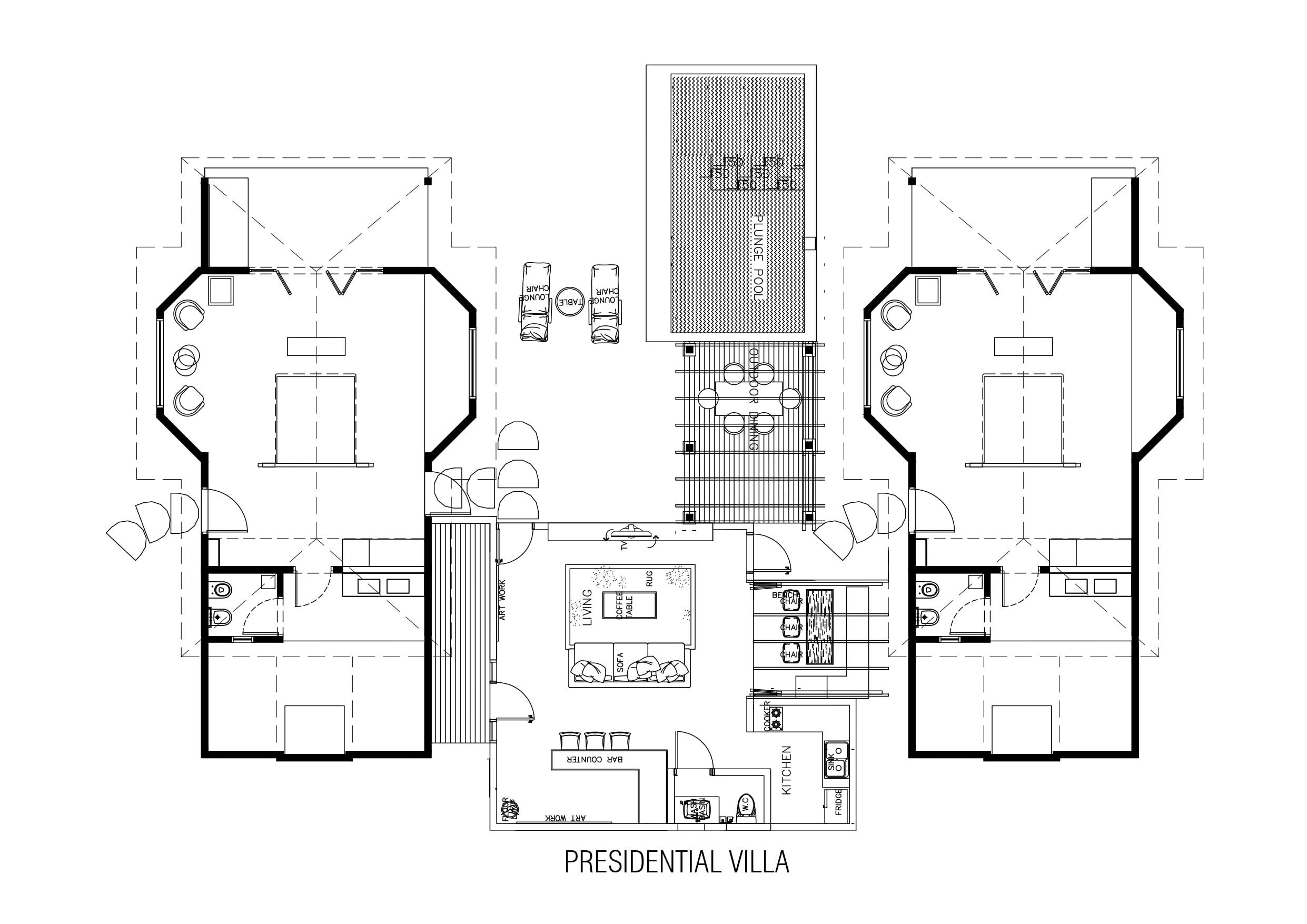 Мальдивы, отель Cocoon Maldives, план-схема номера Cocoon Suite Two Bed Room
