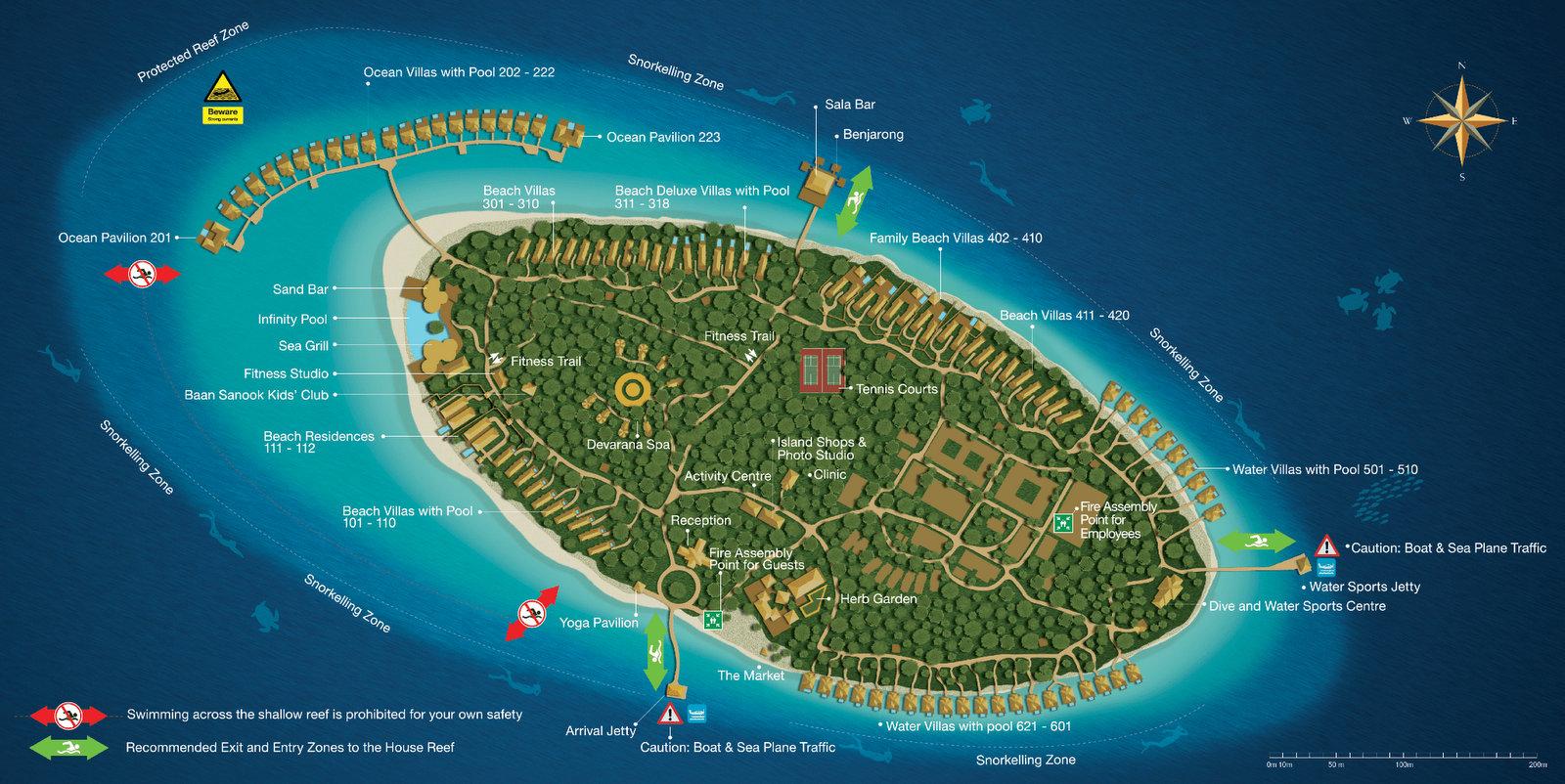 Мальдивы, Dusit Thani Maldives, карта отеля