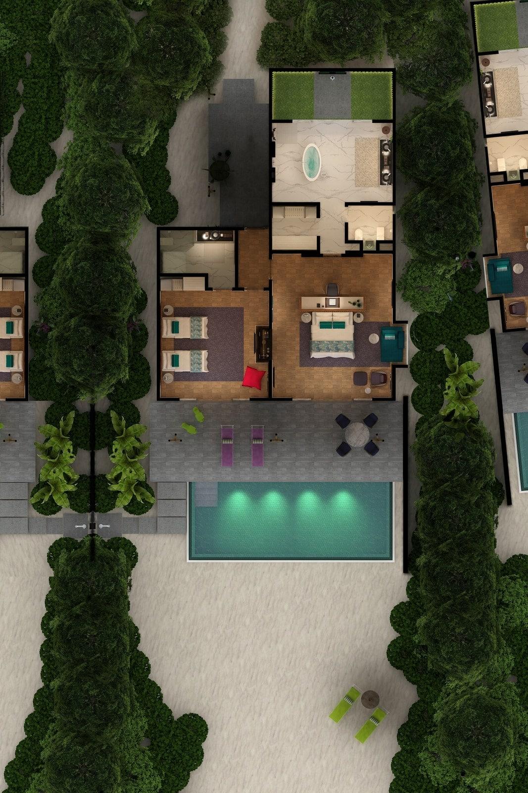 Мальдивы, отель Emerald Maldives Resort & Spa, план-схема номера Family Beach Villa with Pool