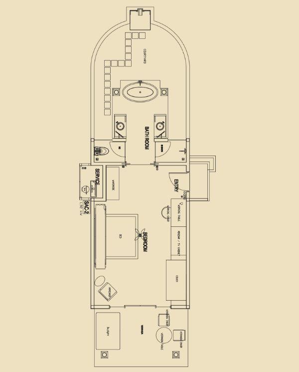 Мальдивы, отель Ayada Maldives, план-схема номера Garden Villa