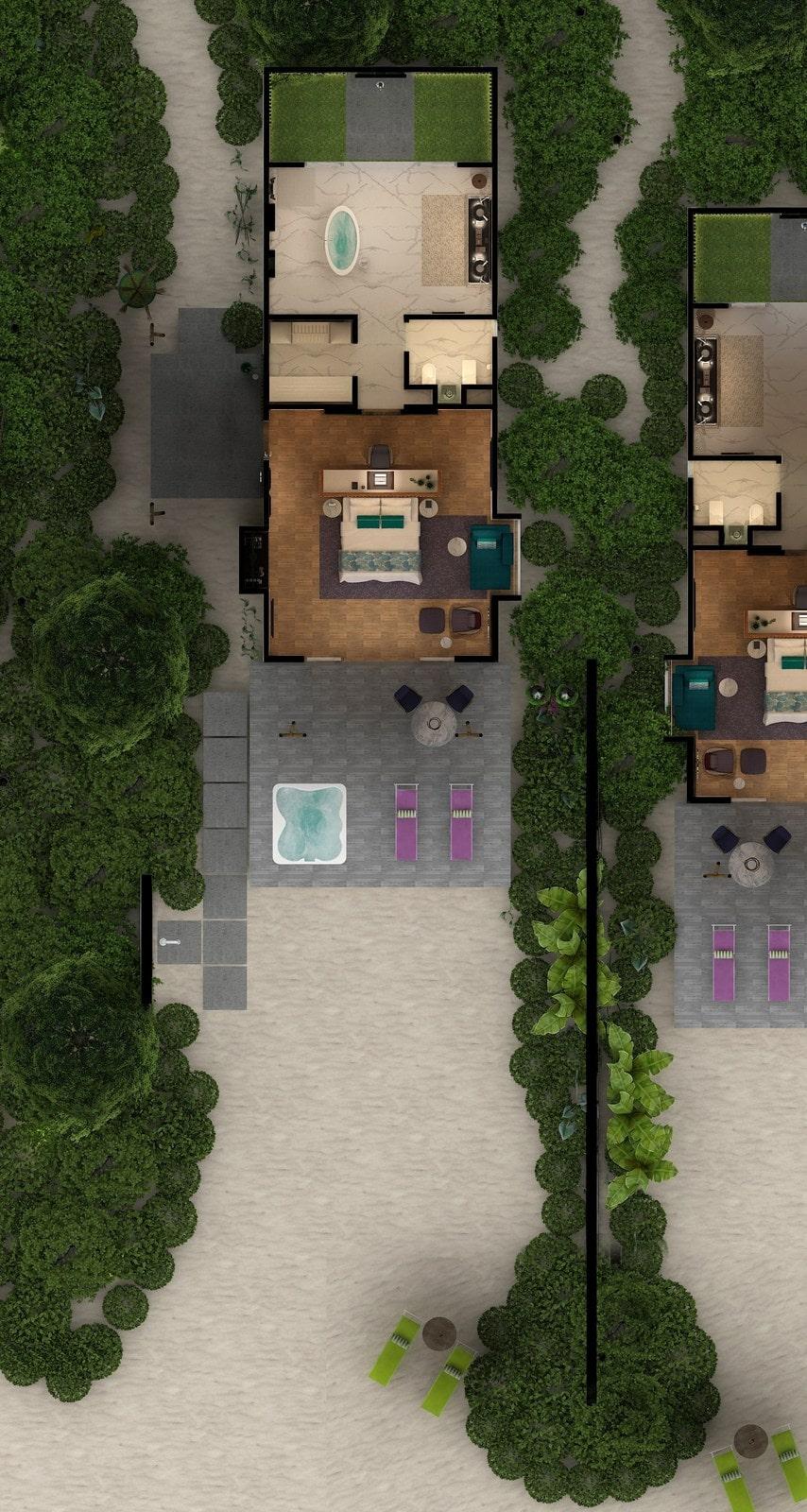 Мальдивы, отель Emerald Maldives Resort & Spa, план-схема номера Jacuzzi Beach Villa