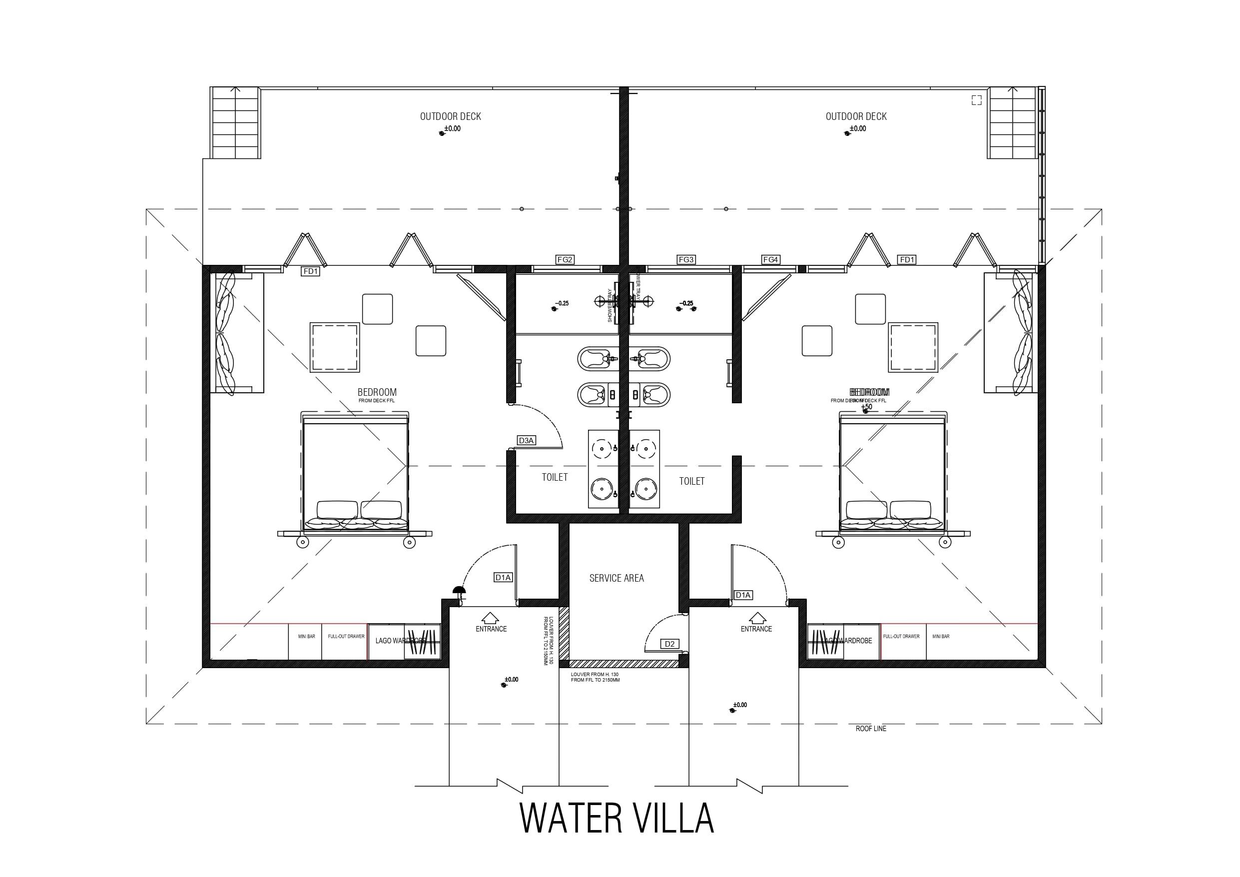 Мальдивы, отель Cocoon Maldives, план-схема номера Lagoon Villa