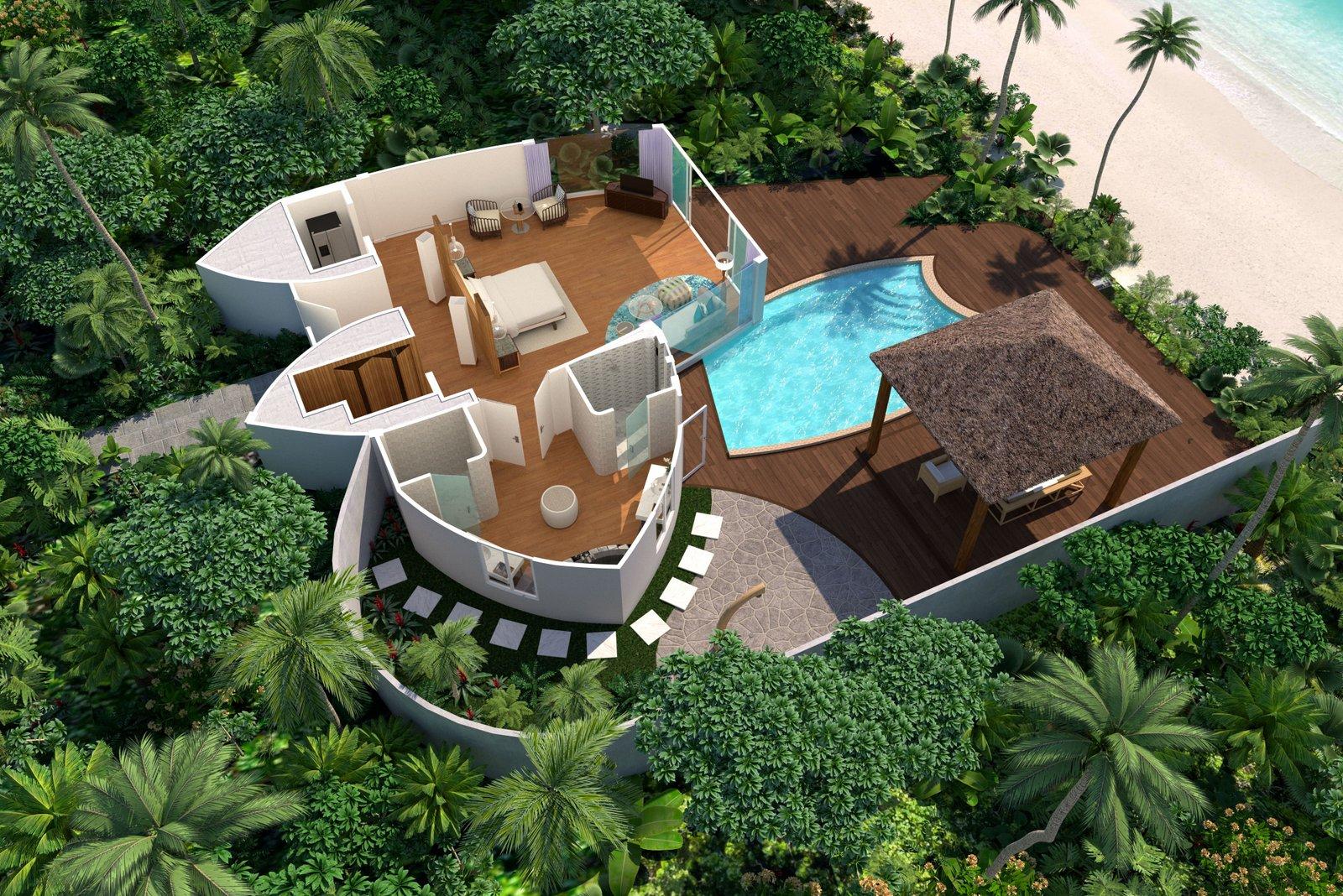 Мальдивы, отель JW Marriott Maldives Resort, план-схема номера Beach Pool Villa
