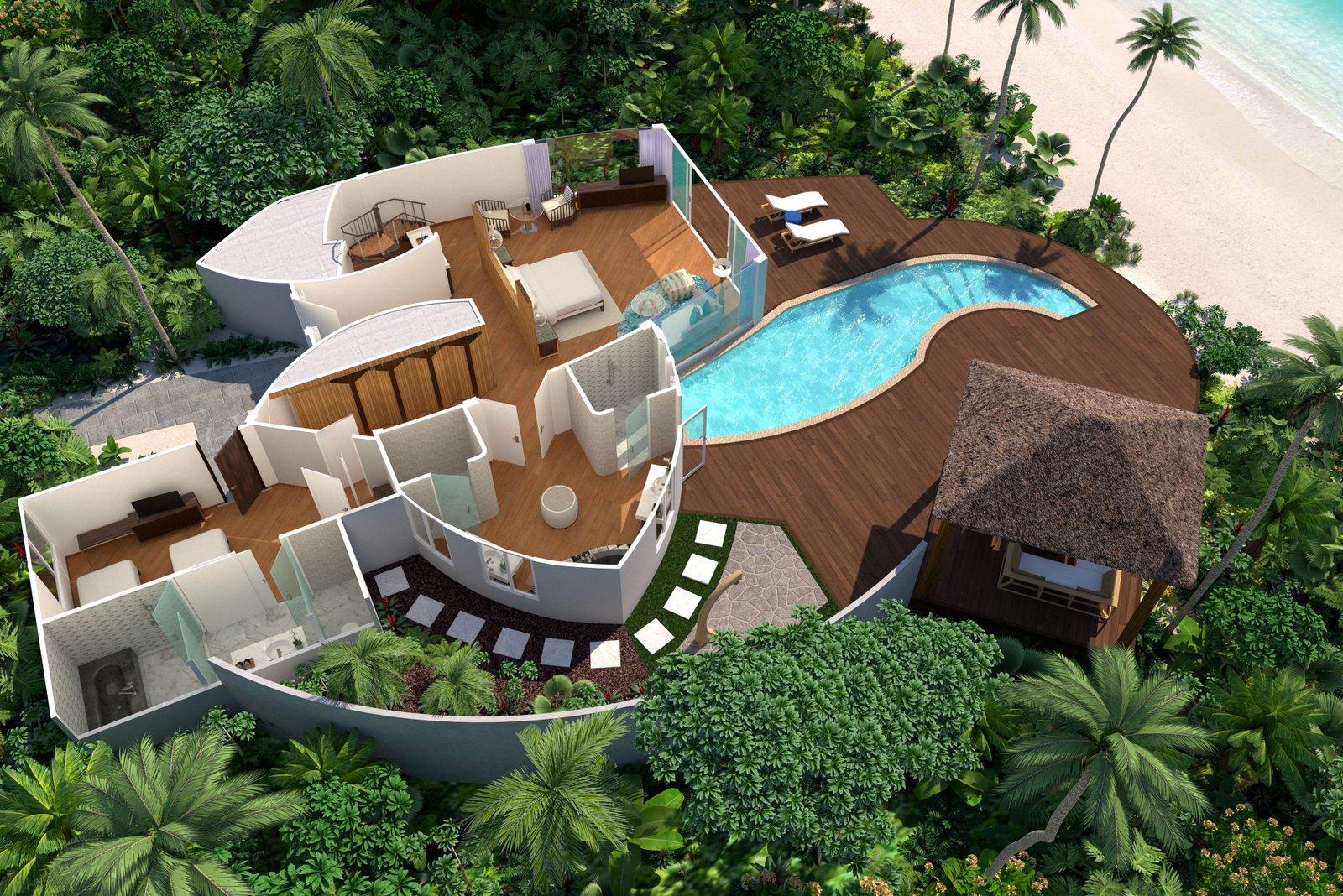Мальдивы, отель JW Marriott Maldives Resort, план-схема номера Duplex Beach Pool Villa