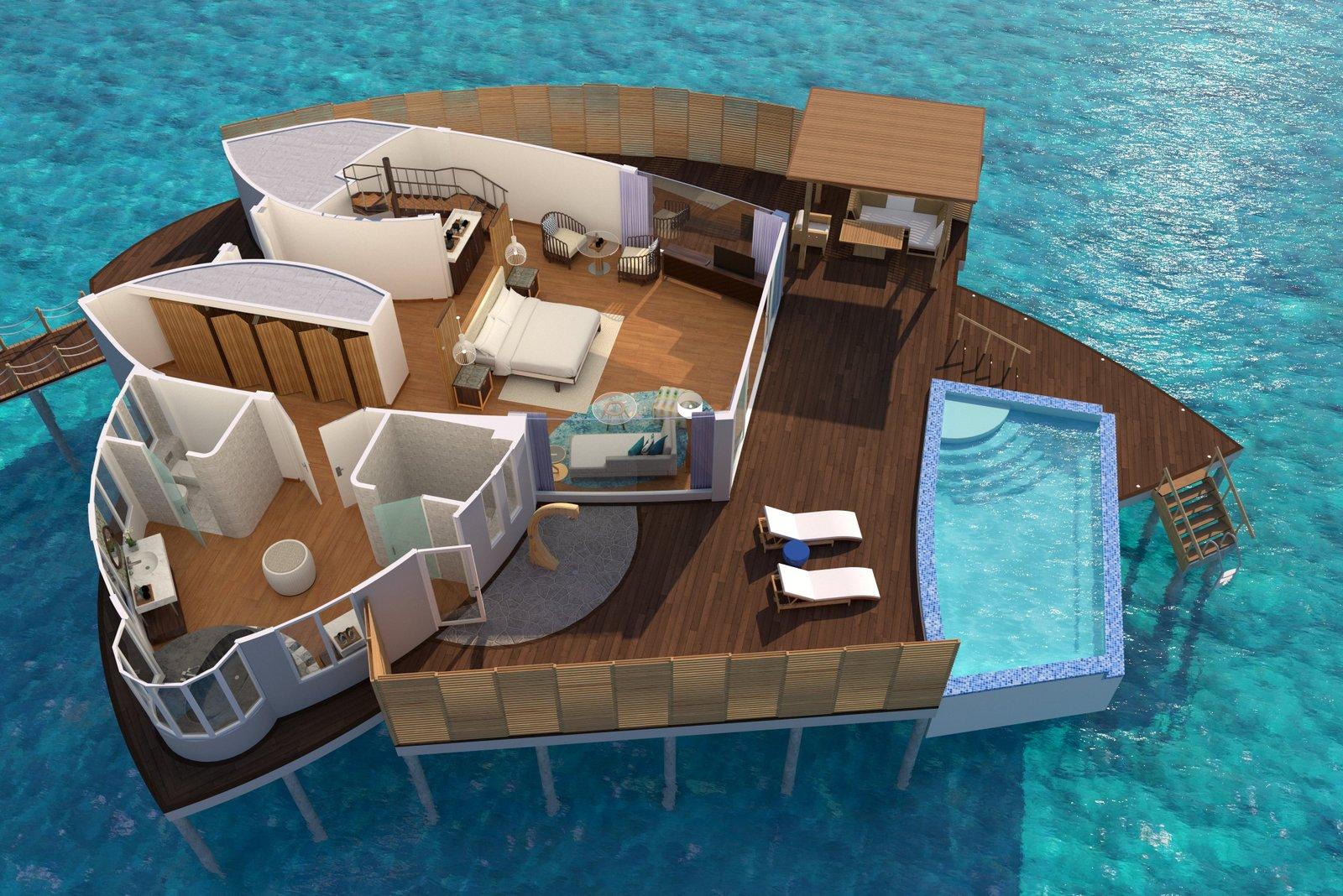 Мальдивы, отель JW Marriott Maldives Resort, план-схема номера Duplex Over Water Pool Villa