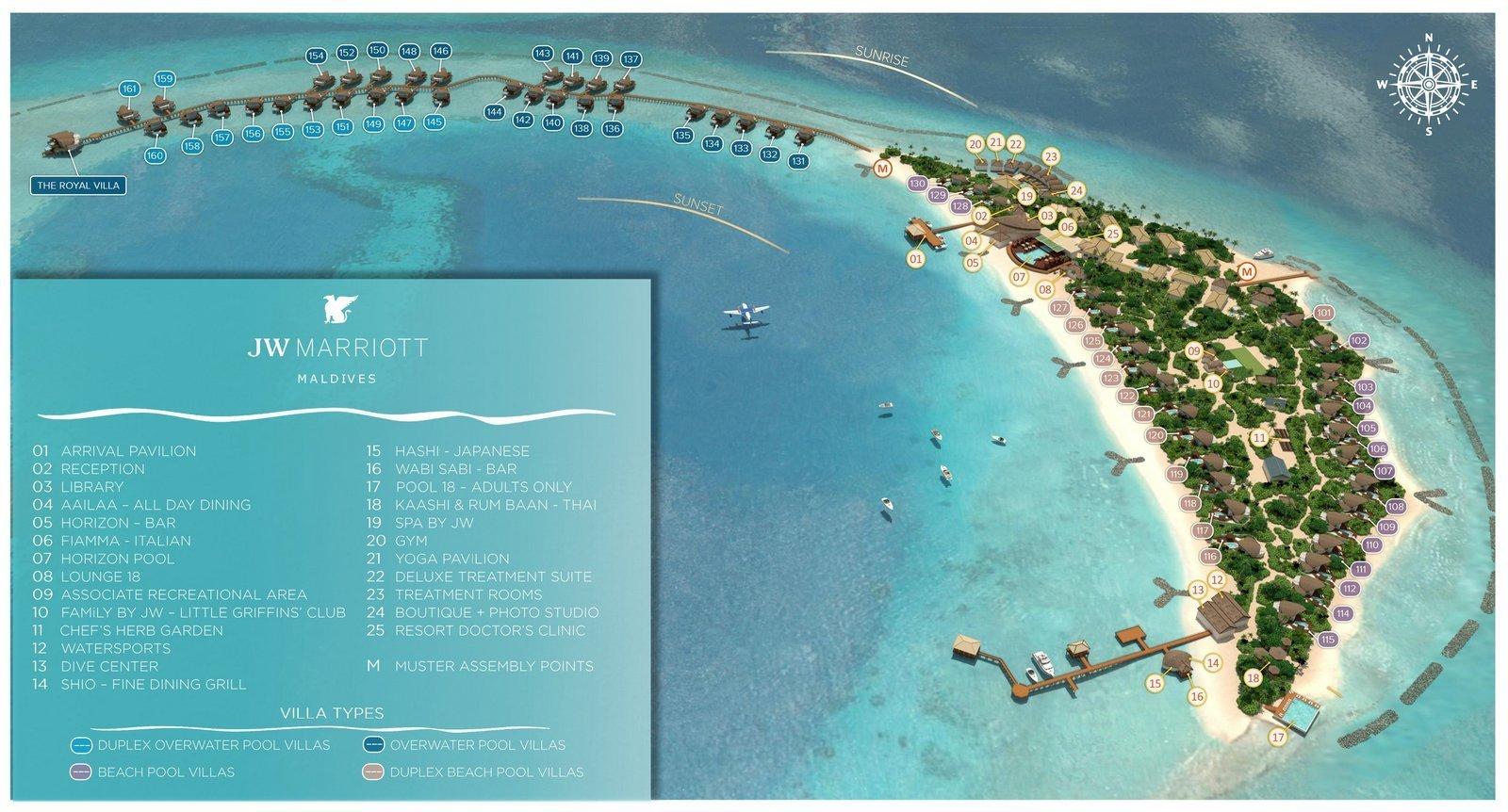 Мальдивы, JW Marriott Maldives Resort, карта отеля