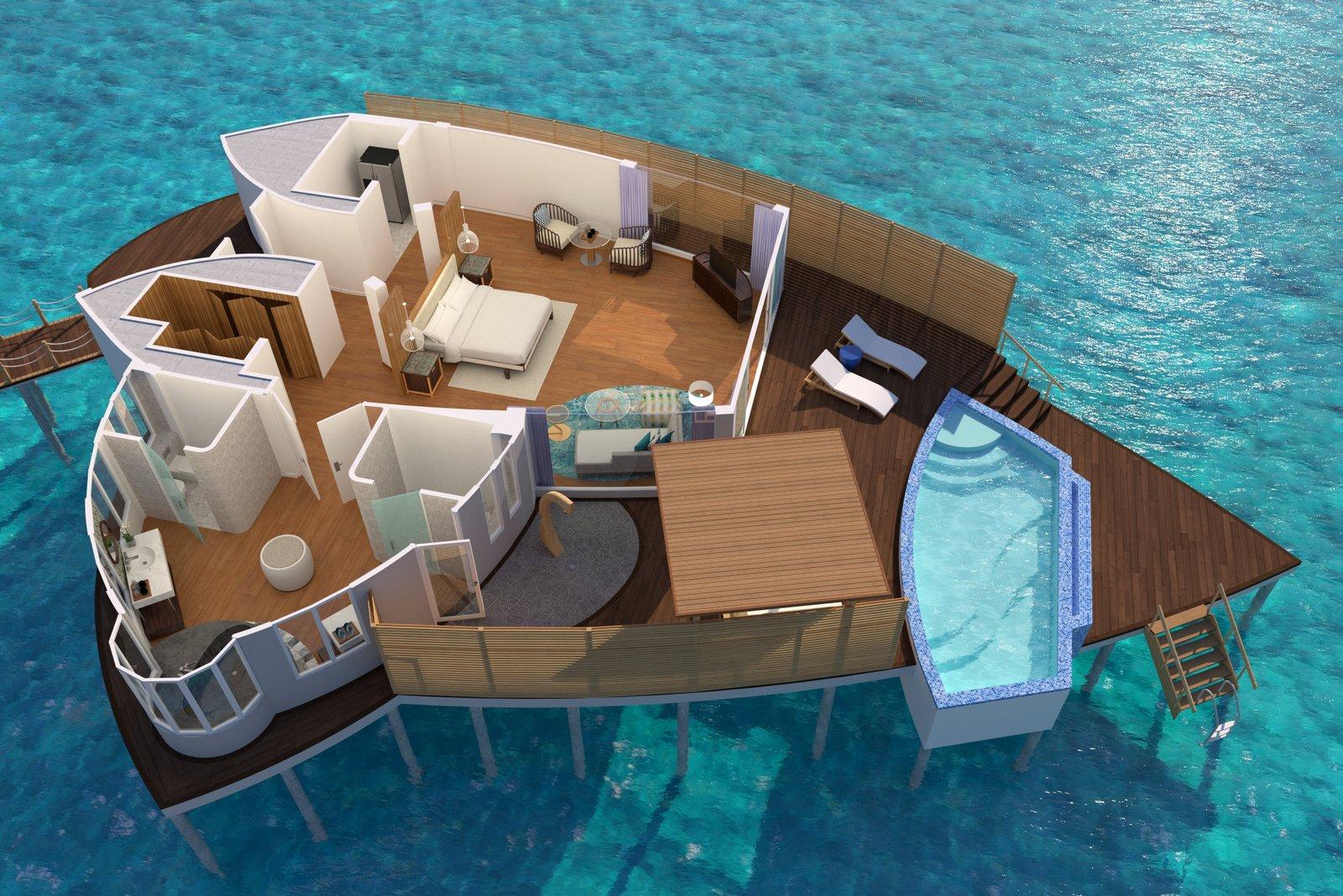 Мальдивы, отель JW Marriott Maldives Resort, план-схема номера Over Water Pool Villa