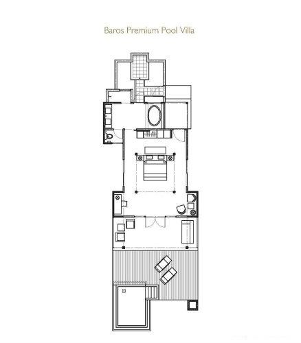 Мальдивы, отель Baros Maldives, план-схема номера Premium Pool Villa
