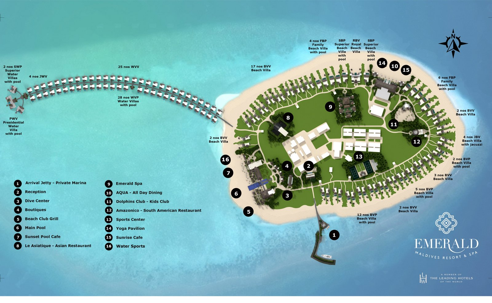 Мальдивы, Emerald Maldives Resort & Spa, карта отеля