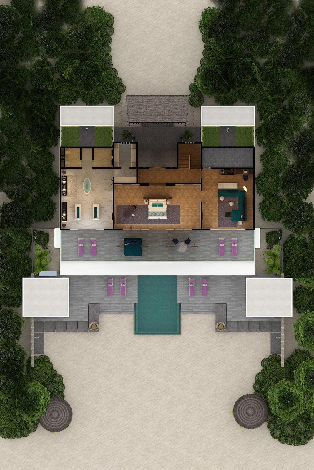 Мальдивы, отель Emerald Maldives Resort & Spa, план-схема номера Royal Beach Villa