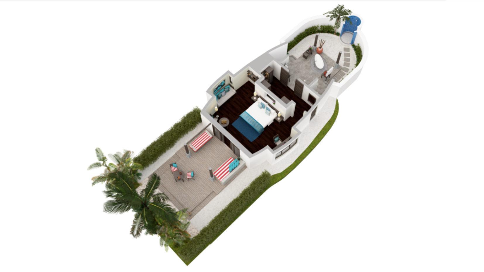 Мальдивы, отель Anantara Dhigu Maldives Resort, план-схема номера Beach Villa