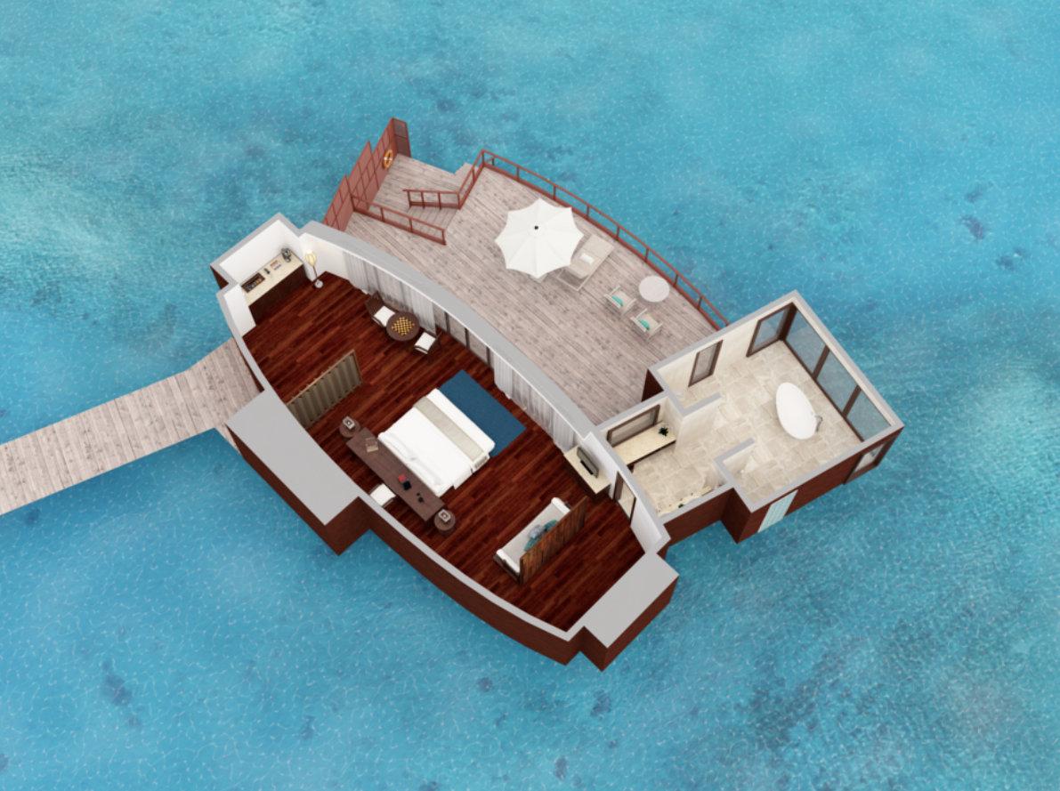 Мальдивы, отель Anantara Dhigu Maldives Resort, план-схема номера Over Water Suite