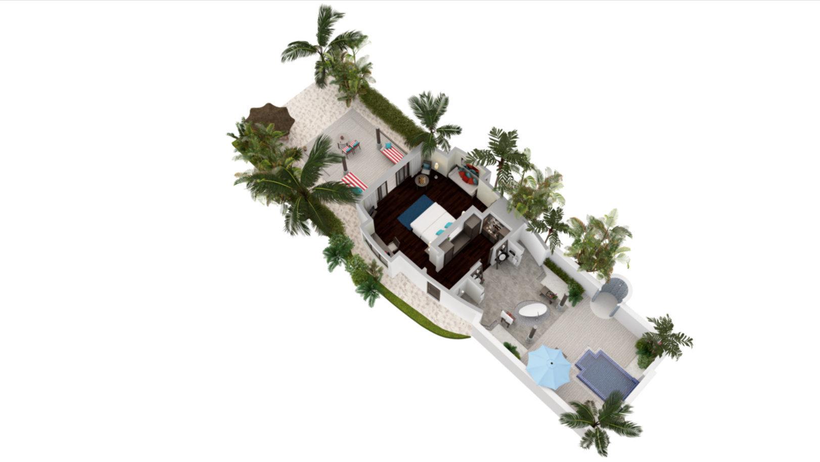 Мальдивы, отель Anantara Dhigu Maldives Resort, план-схема номера Sunset Pool Villa