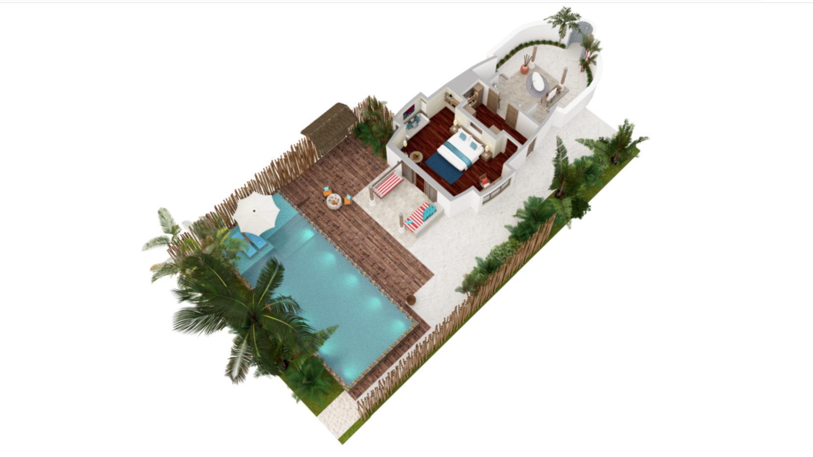 Мальдивы, отель Anantara Dhigu Maldives Resort, план-схема номера Anantara Pool Villa