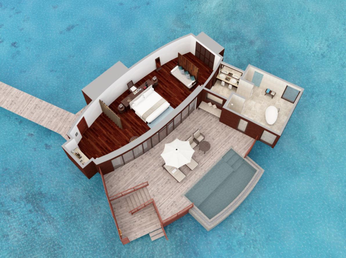 Мальдивы, отель Anantara Dhigu Maldives Resort, план-схема номера Anantara Over Water Pool Suite