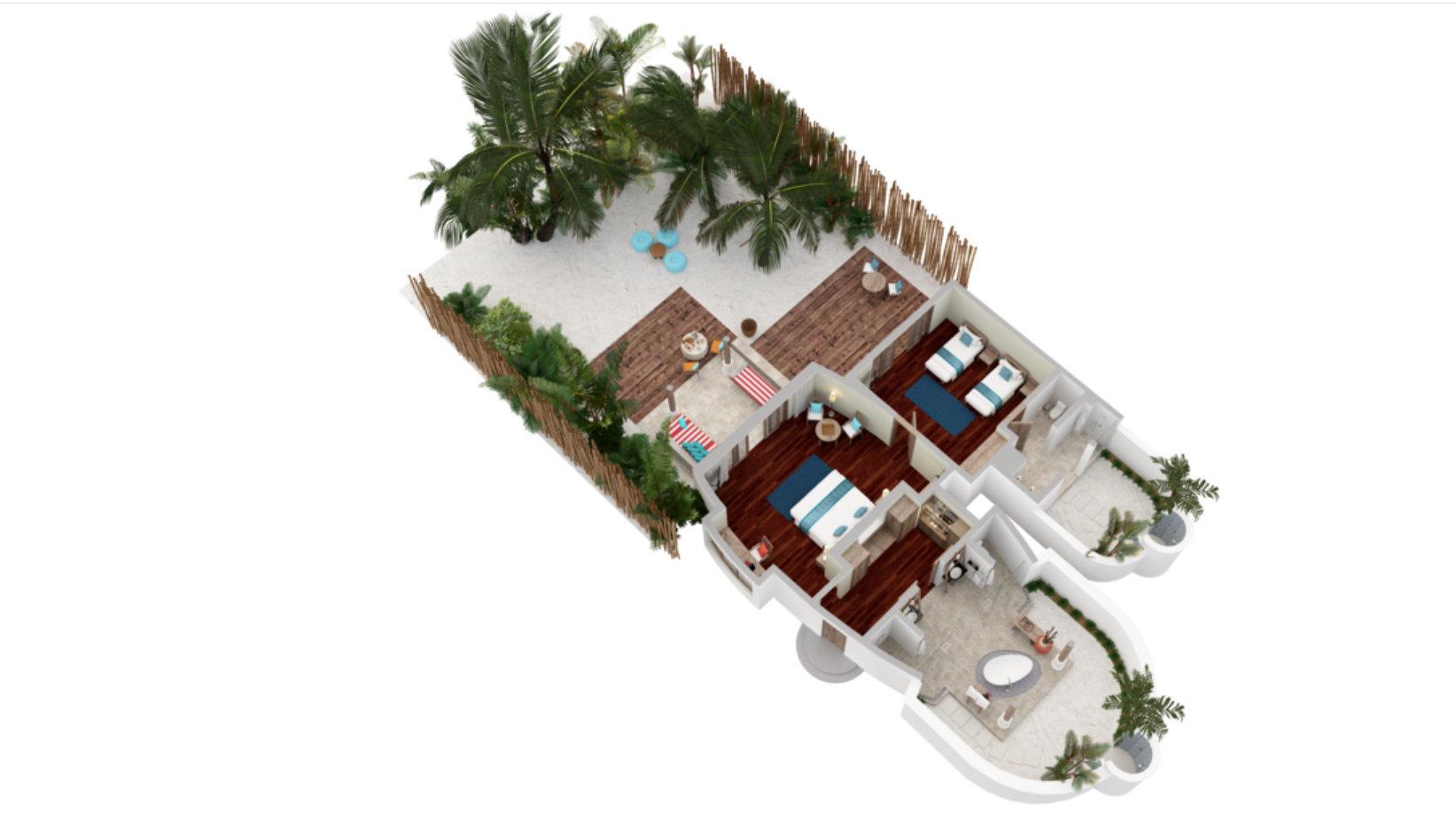 Мальдивы, отель Anantara Dhigu Maldives Resort, план-схема номера Two Bedroom Family Villa