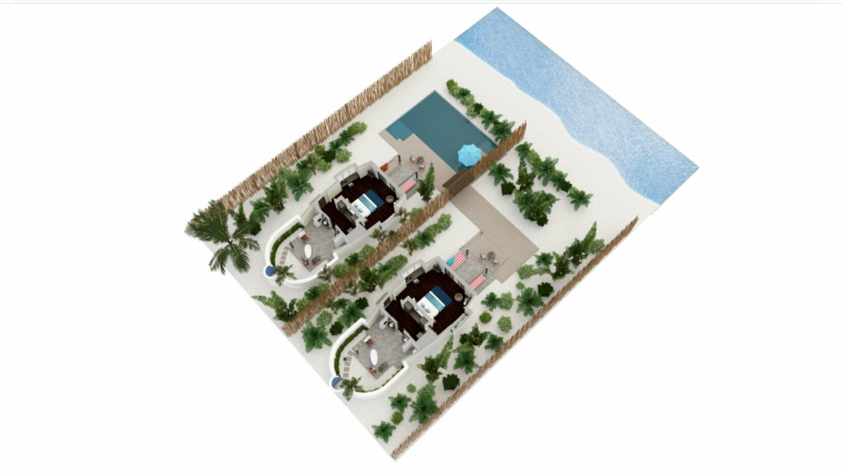 Мальдивы, отель Anantara Dhigu Maldives Resort, план-схема номера Two Bedroom Anantara Pool Villa