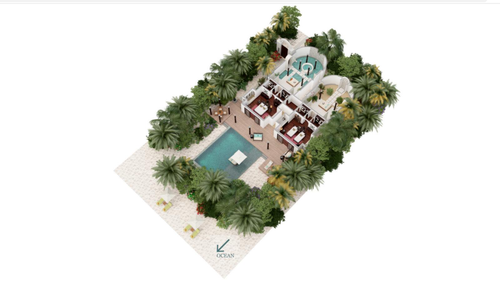 Мальдивы, отель Anantara Kihavah Maldives Villas, план-схема номера Family Beach Pool Villa
