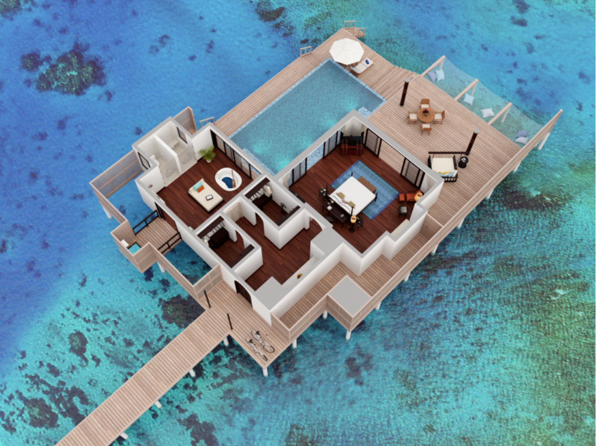 Мальдивы, отель Anantara Kihavah Maldives Villas, план-схема номера Over Water Pool Villa