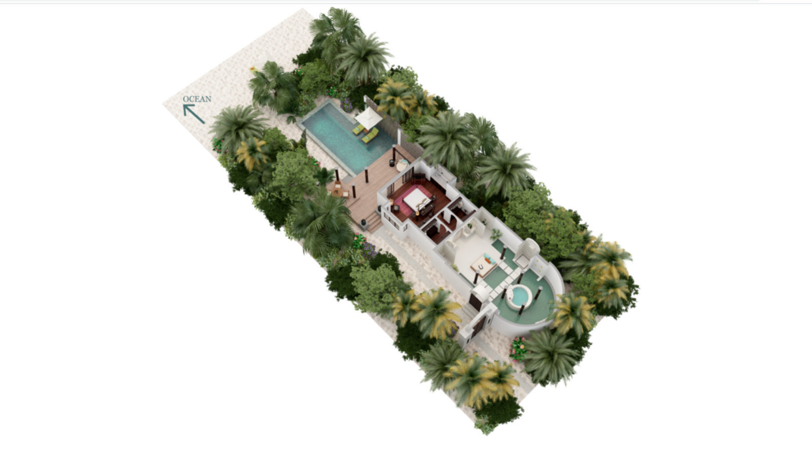 Мальдивы, отель Anantara Kihavah Maldives Villas, план-схема номера Beach Pool Villa