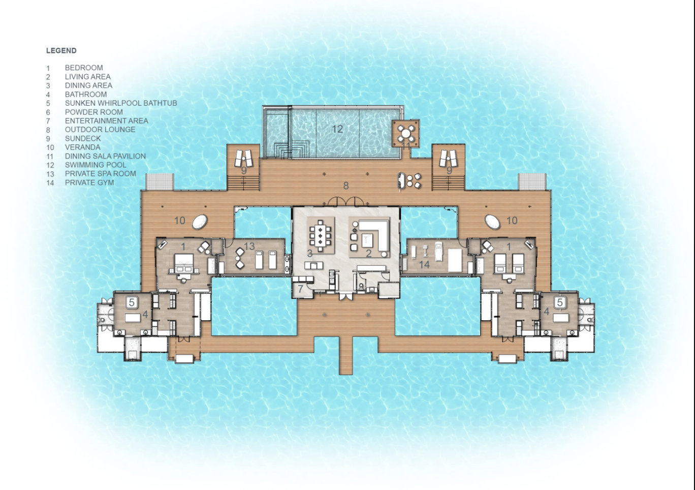 Мальдивы, отель Anantara Kihavah Maldives Villas, план-схема номера Two-Bedroom Over Water Pool Residence