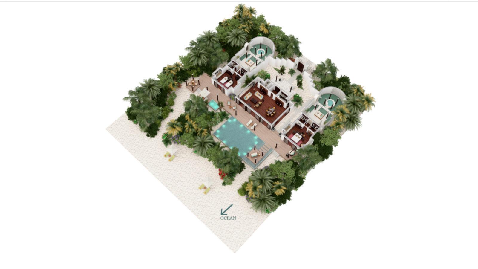 Мальдивы, отель Anantara Kihavah Maldives Villas, план-схема номера Two-Bedroom Beach Pool Residence