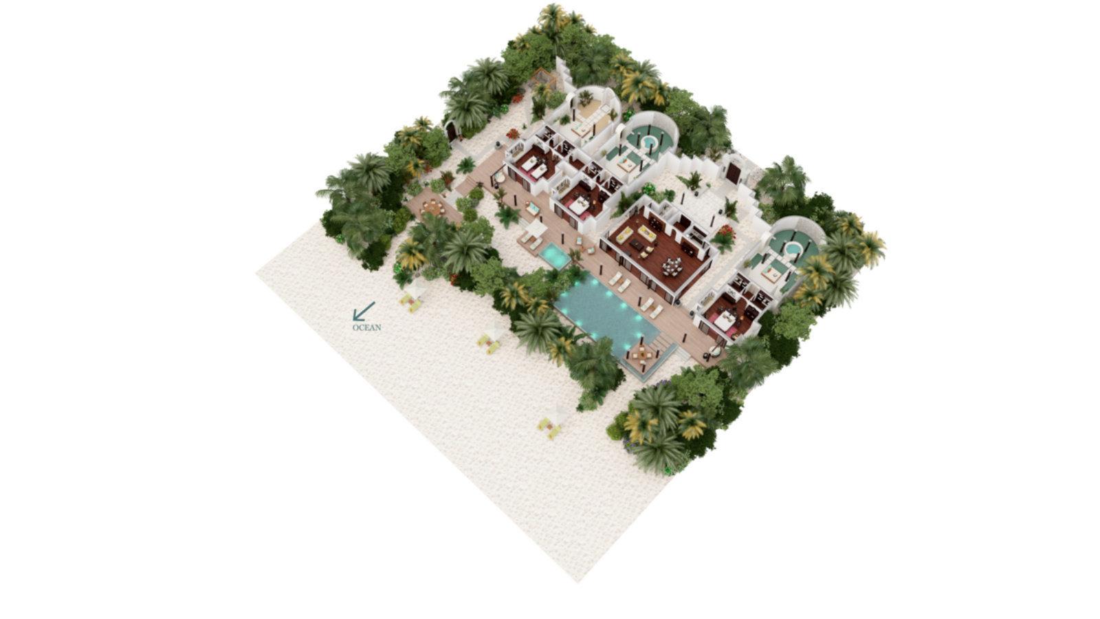Мальдивы, отель Anantara Kihavah Maldives Villas, план-схема номера Three-Bedroom Presidential Beach Residence