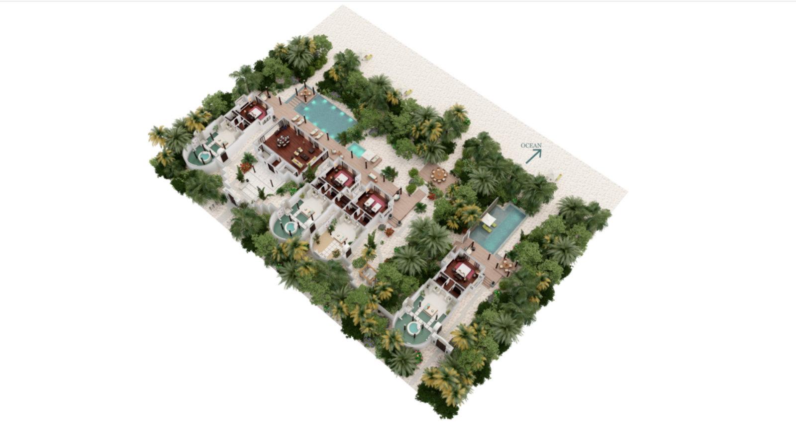 Мальдивы, отель Anantara Kihavah Maldives Villas, план-схема номера Four-Bedroom Beach Pool Residence