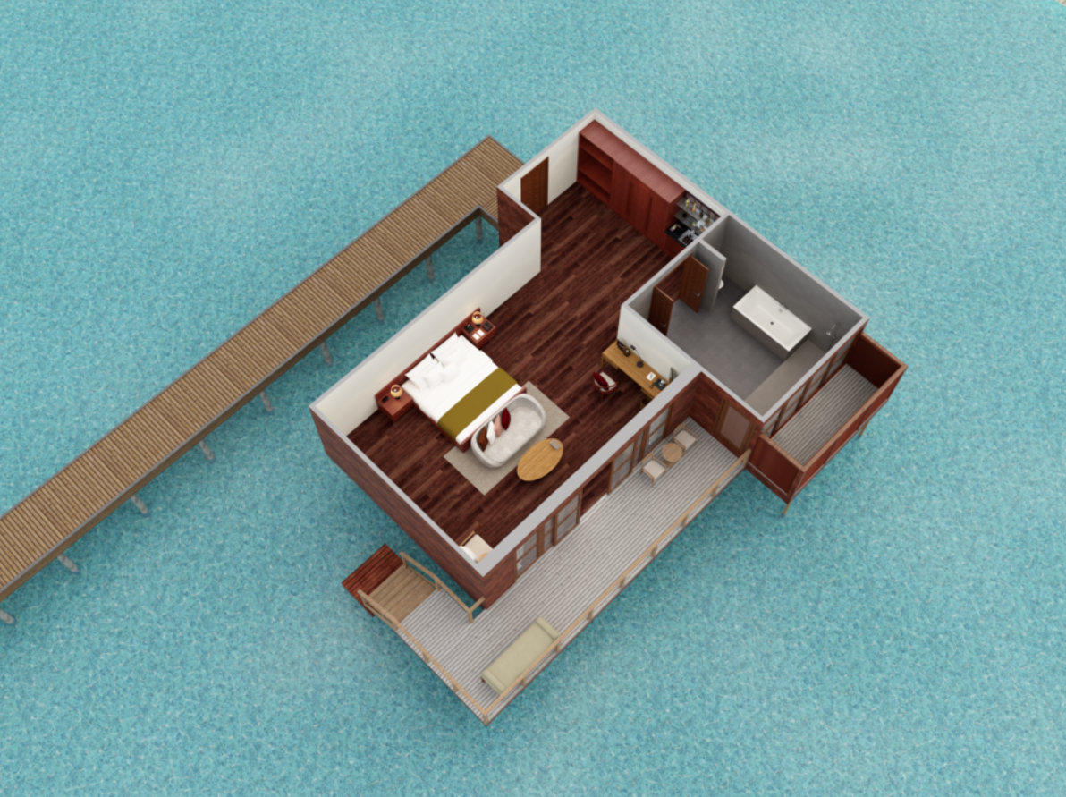 Мальдивы, отель Anantara Veli Resort, план-схема номера Over Water Bungalow
