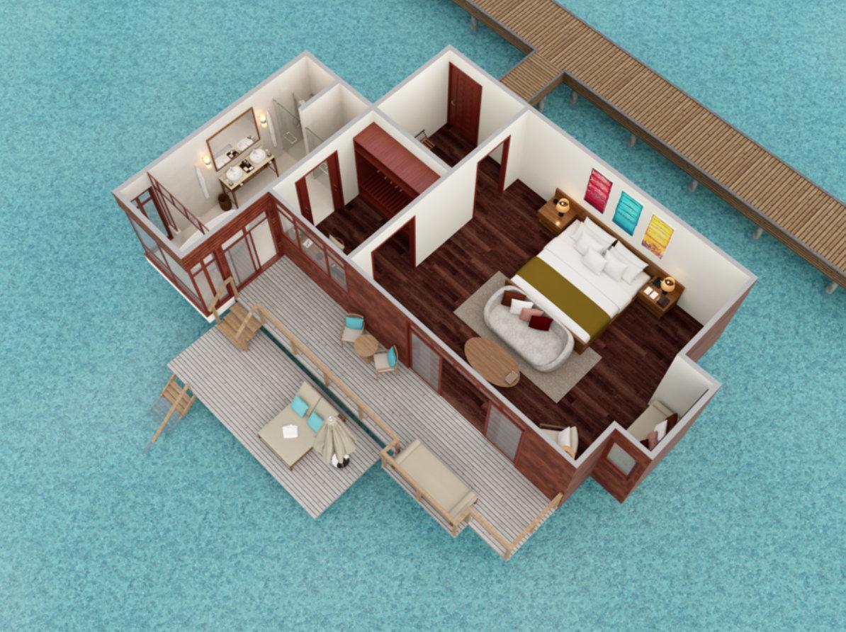 Мальдивы, отель Anantara Veli Resort, план-схема номера Deluxe Over Water Bungalow