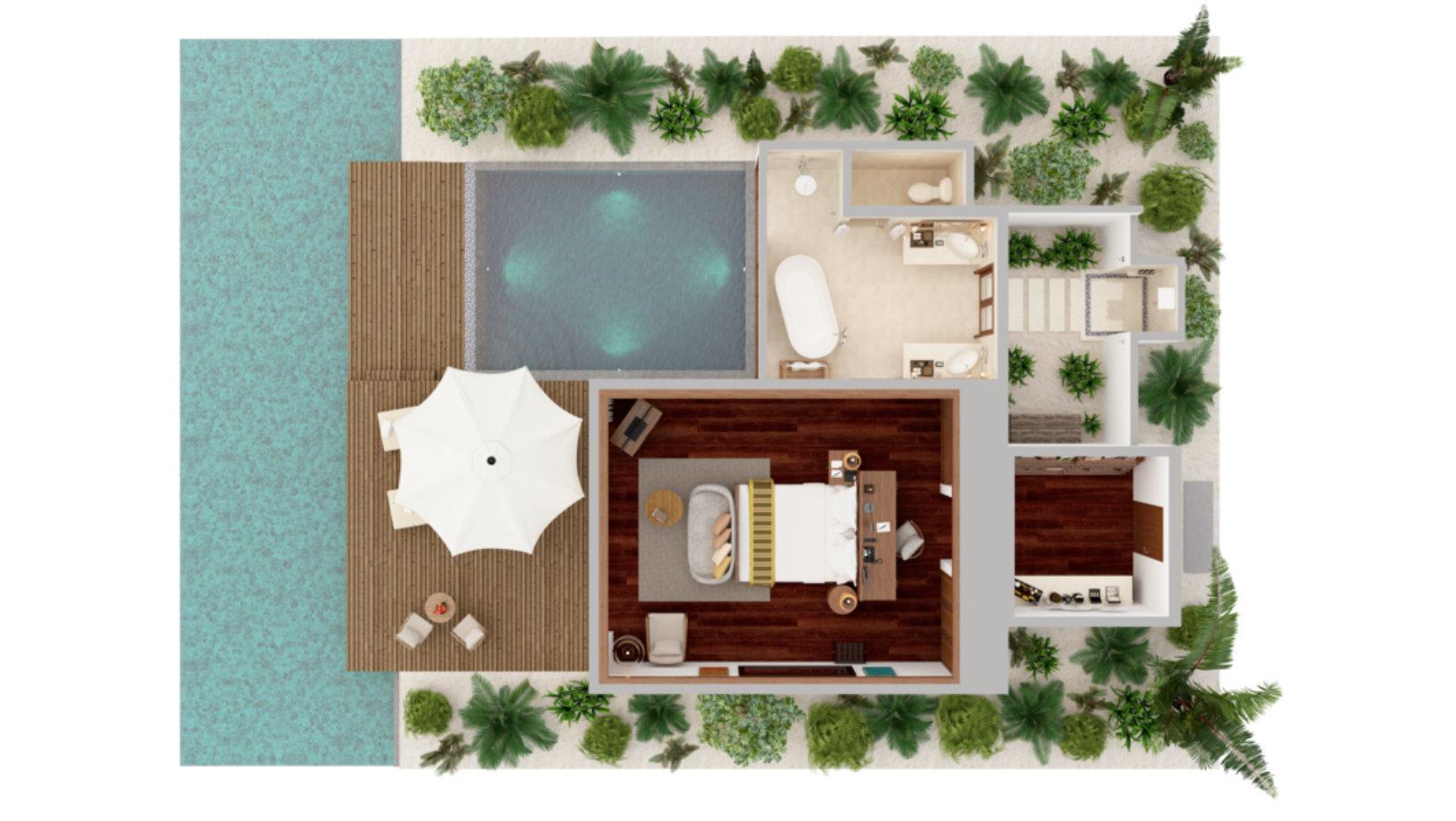 Мальдивы, отель Anantara Veli Resort, план-схема номера Ocean Pool Bungalow