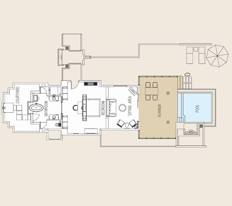 Мальдивы, отель Ayada Maldives, план-схема номера Sunset Beach Suite with Pool