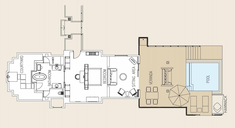 Мальдивы, отель Ayada Maldives, план-схема номера Sunset Lagoon Suite with Pool