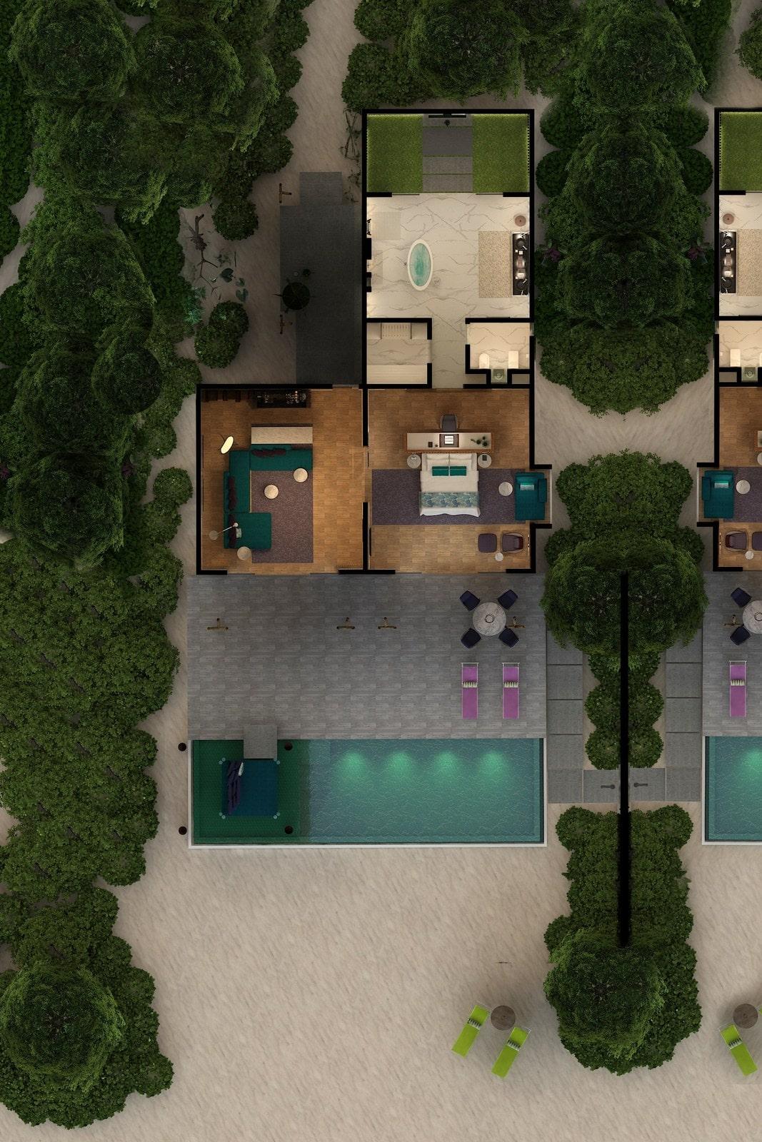 Мальдивы, отель Emerald Maldives Resort & Spa, план-схема номера Superior Beach Villa with Pool
